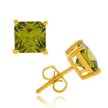 18K Gold over Sterling Silver Olive CZ 7mm Square Stud Earrings