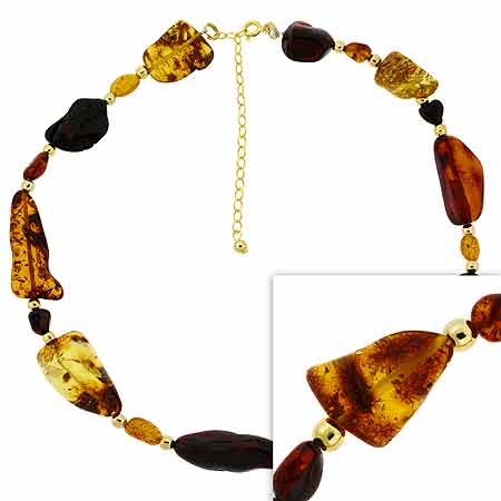 Vermeil (24k Gold over Sterling Silver) Genuine Honey Brown Ambe