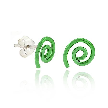 Sterling Silver .925 Green Metallic Mini Swirl Small Kid Stud Ea