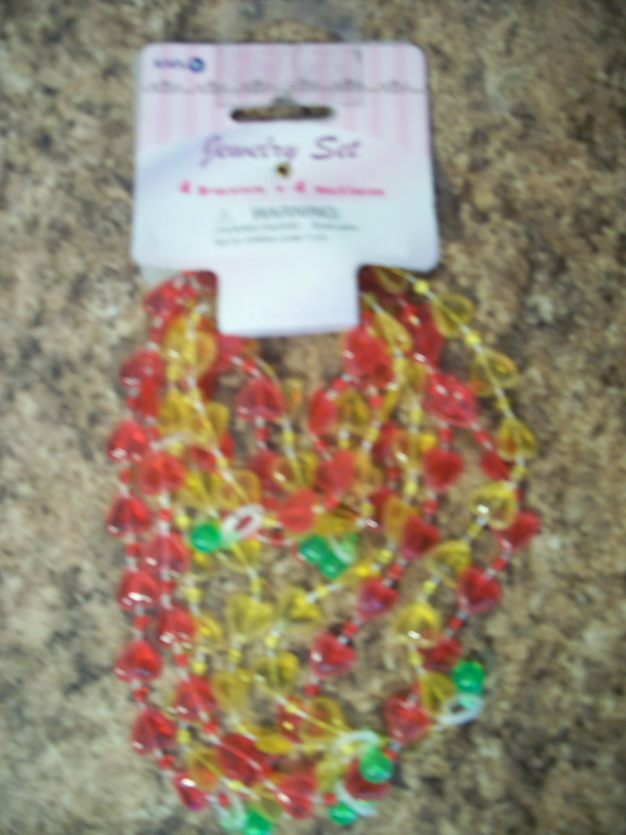 Jewelry Set ( 4 Bracelets & 4 Necklaces, Red & Yellow)