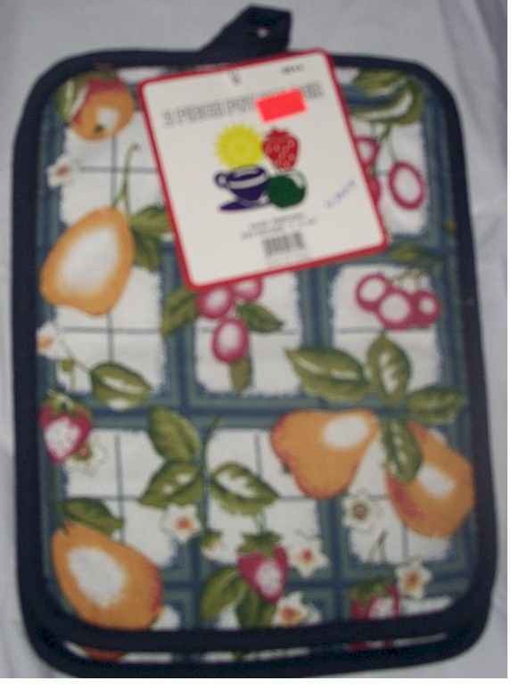 Green / Blue Oven Hot Pad Fruit pattern