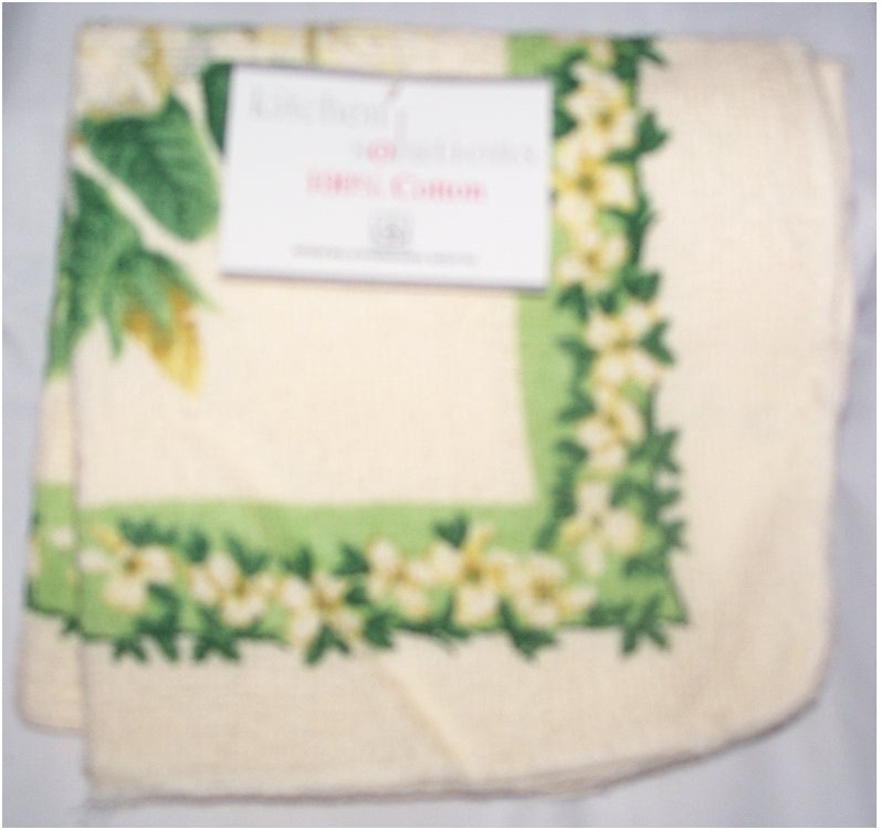 Kitchen Solutions Dish Cloth 100% Cotton white/green flower bord